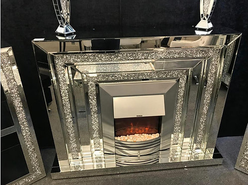 Crystal fireplace and mirror