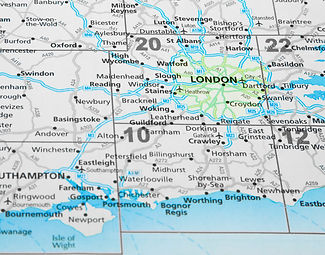 map of South East England with London hi
