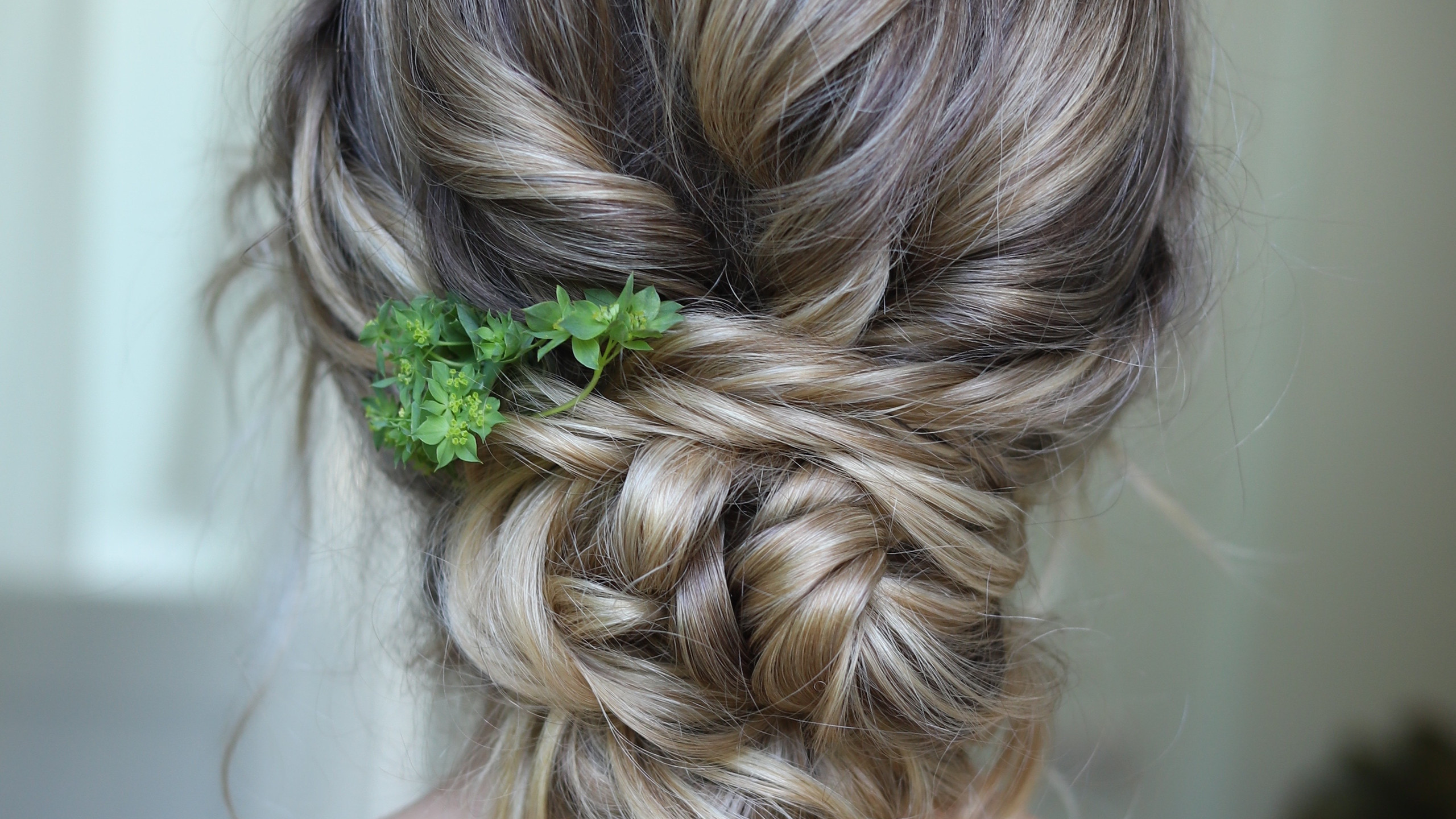 Updo with foliage