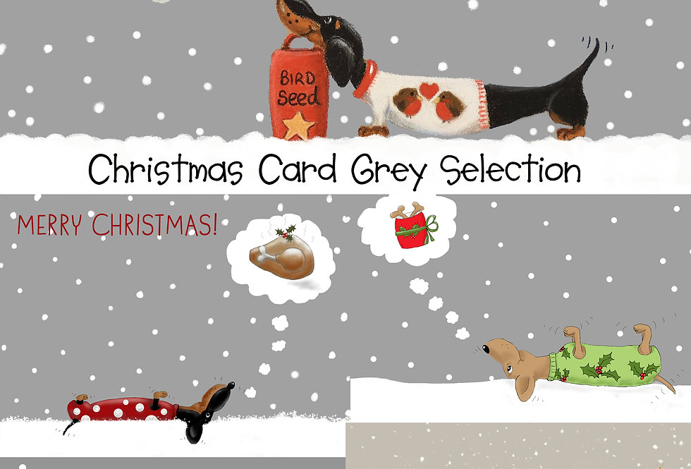 Christmas Card Grey Collection - Pack of 5 Christmas Cards