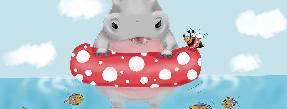 Harriet the Happy Hippo! - Childrens Fine Art Print