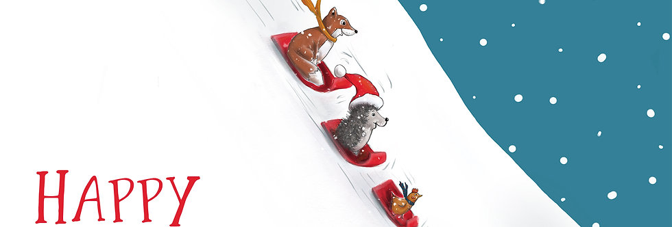 'Snowy Slide' - Pack of Ten Christmas Cards
