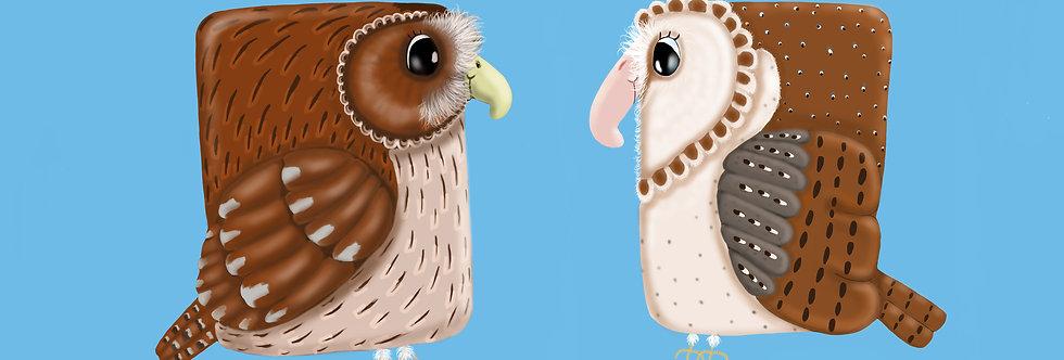 'Tawny Owl and Barn Owl' - British Bird Print
