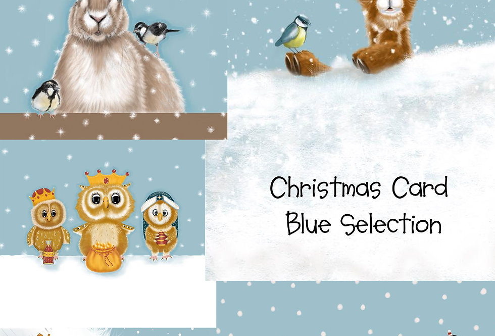 Christmas Card Blue Collection - Pack of 10 Christmas Cards