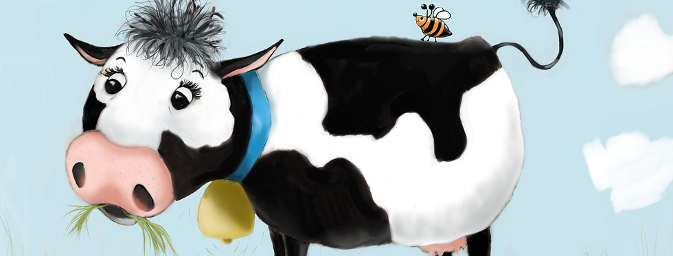 Chewy the Cow! - Childrens Fine Art Print