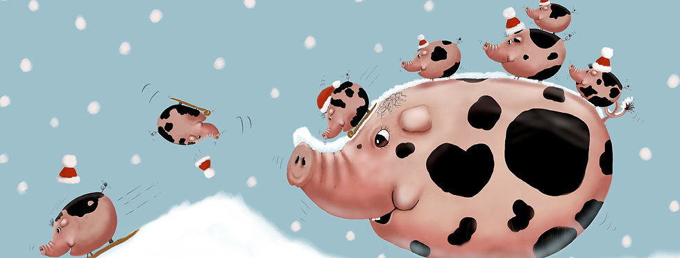 'As Happy As A Pig In Snow!' - Pack of 5 Christmas Cards