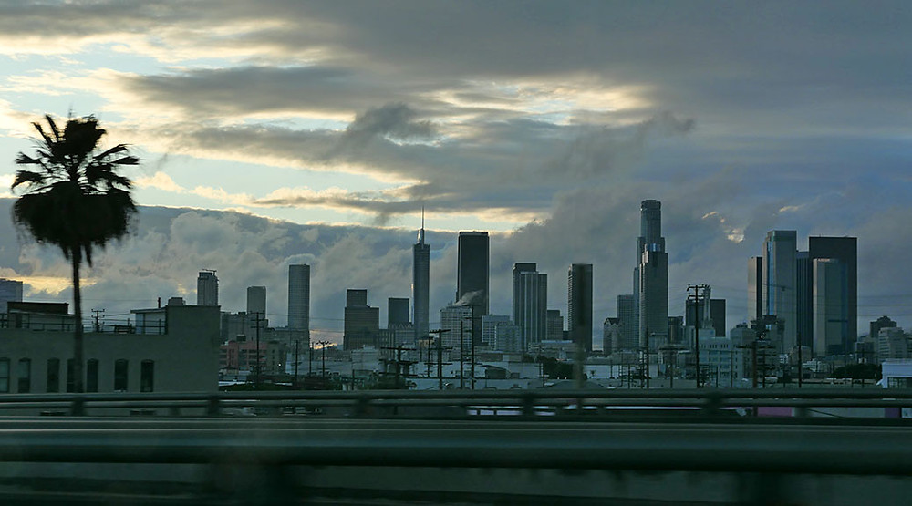 Downtown Los Angeles seen fro the Santa Monica Freeway