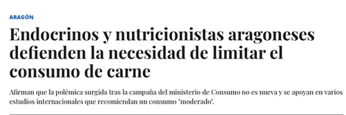 Entrevista en el Heraldo de Aragón hablando sobre la polémica con las carnes rojas.