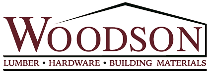 Woodson Lumber rooftop logo with Woodson and Lumber, Hardware, and building materials below.