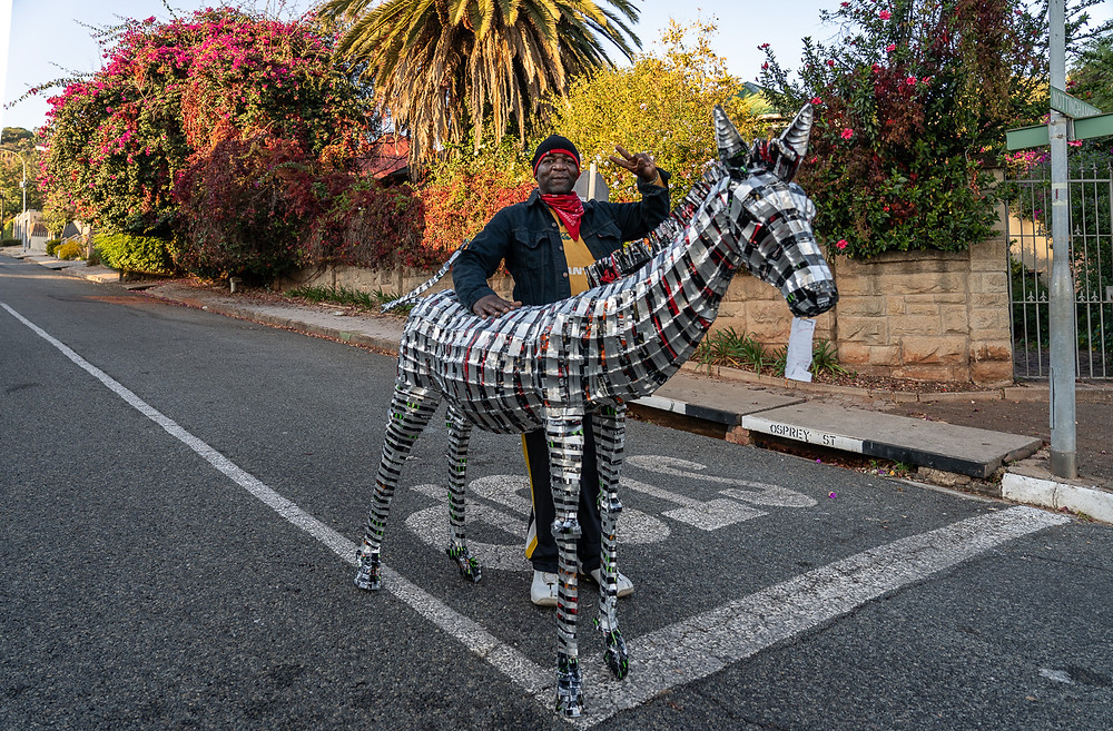metal sculpture of a zebra
