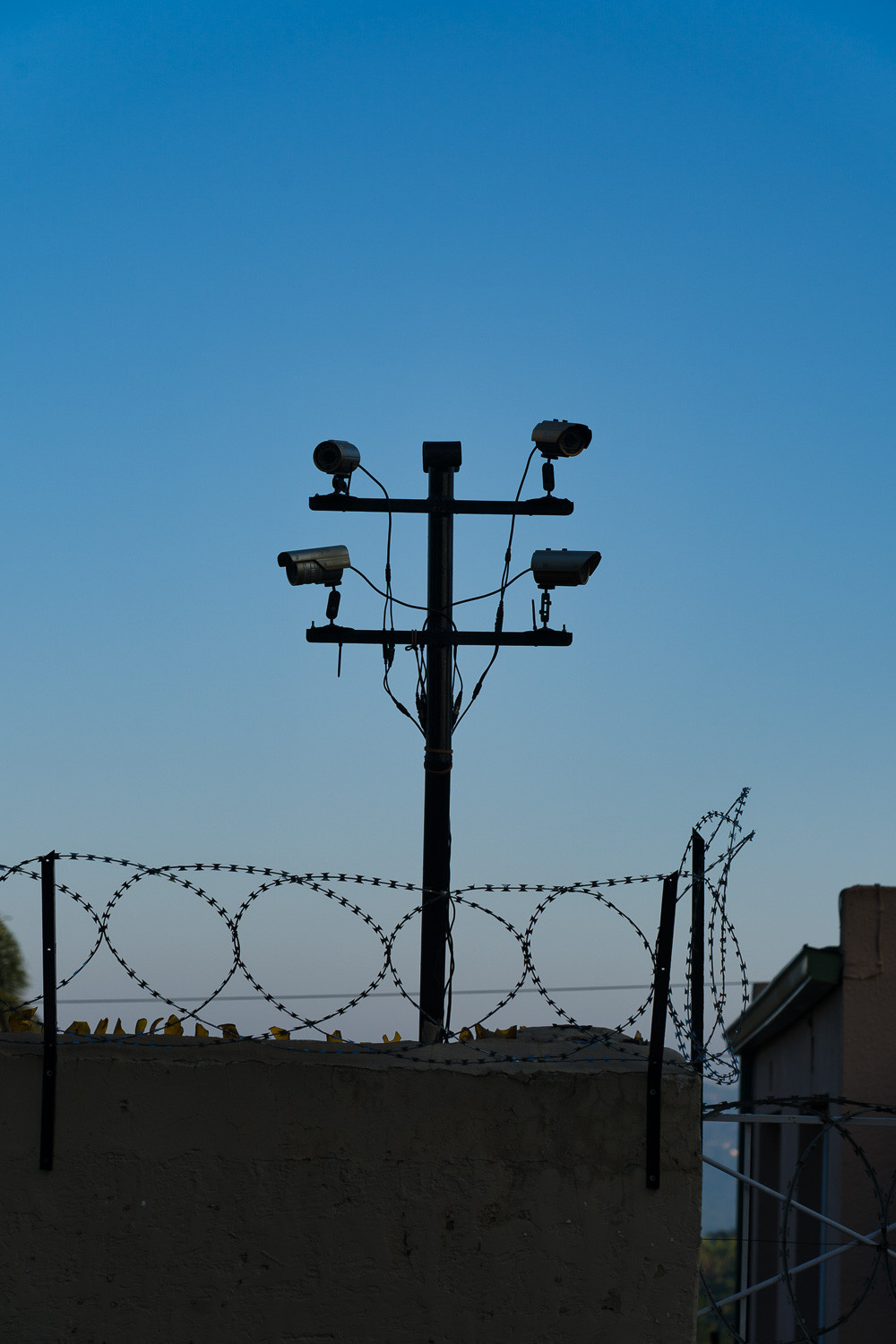 Security cameras and razor wire