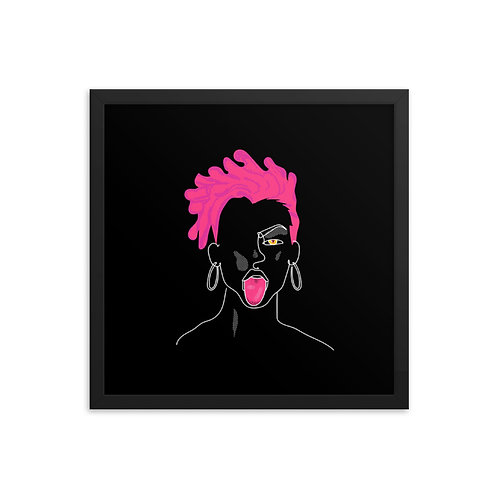 lonniedraws x pink dreads framed gallery art print
