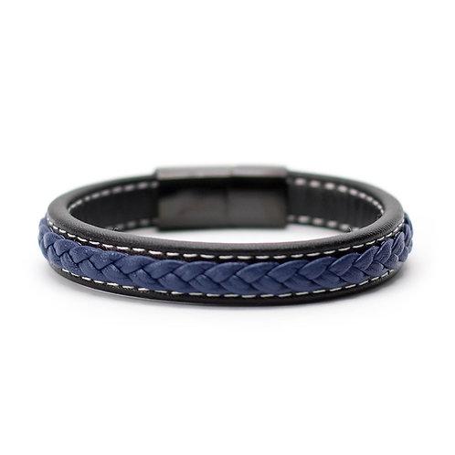 Браслет кожаный Black/Blue14