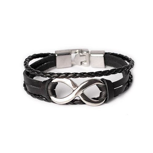 Браслет кожаный Infinity Black/Silver02