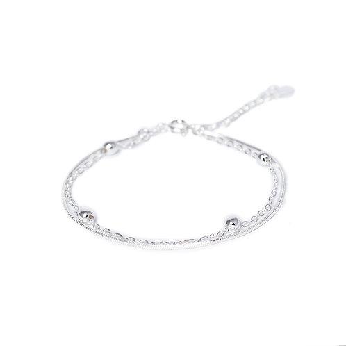"""Браслет """"Beads W""""/Бусины двойной/Silver33"""