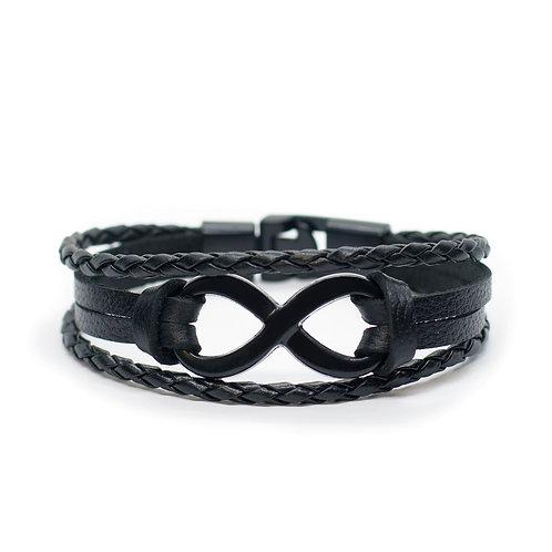 """Браслет кожаный """"Infinity""""/Бесконечность Black01"""