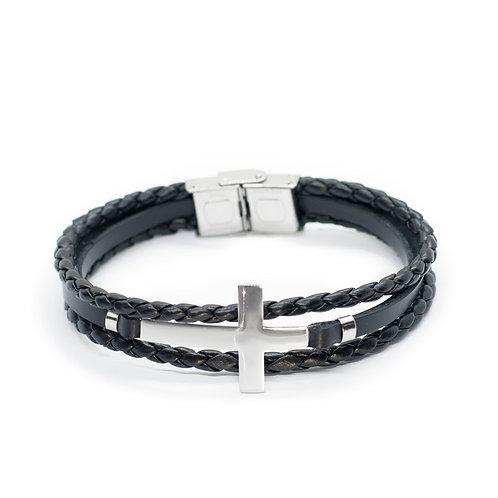 "Браслет кожаный ""Cross""/Крест Black/Silver07"