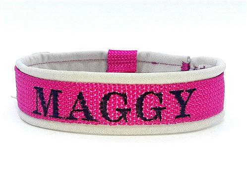 besticktes Halsband - pink
