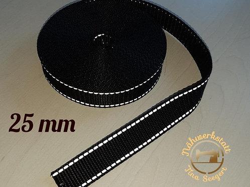 Reflektierende Halsbänder schwarz - 25 mm breit -