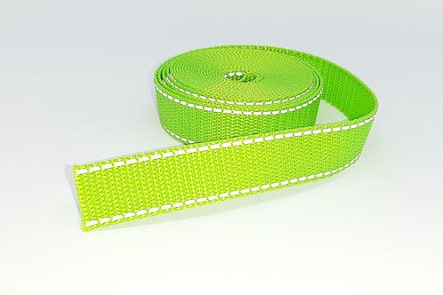 besticktes Halsband - grün reflektierend