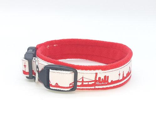 Skyline-Halsband Hamburg rot / weiß