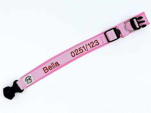besticktes Halsband - rosa