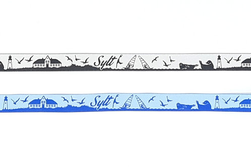 "Führgeschirr ""Lucky"" Sylt; Webband blau / hellblau"