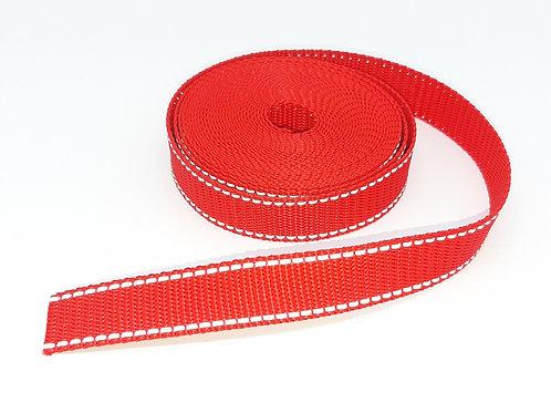 besticktes Halsband - rot reflektierend