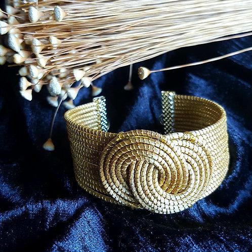 Bracelet plat tige de capim serti double anneaux