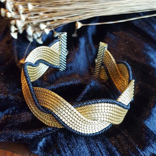 Bracelet tréssé 2 bandes capim et noir