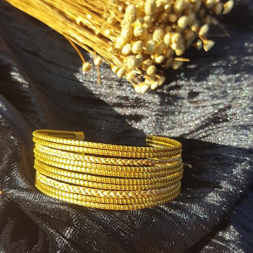 Bracelet 8 tiges 2 tresses
