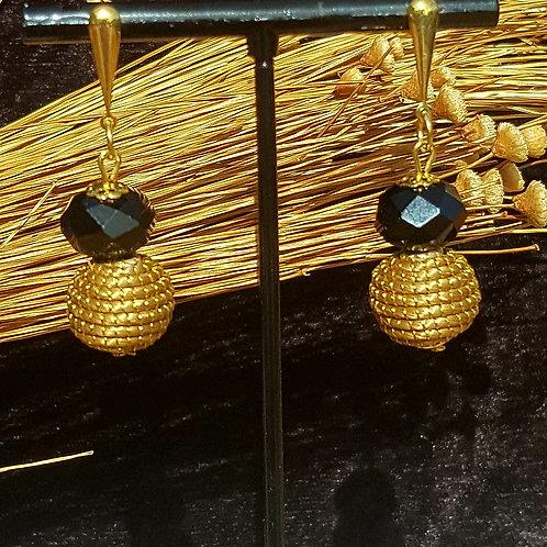 Boucles boule et perle noire