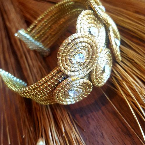 Bracelet tissé et strass ajustable