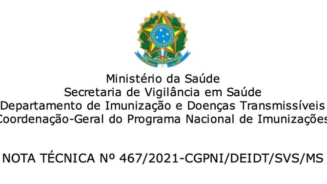 Campanha Nacional de Vacinação Covid-19 - atualização Gestantes, Puérperas e Lactantes.