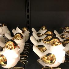 Fugl hvit med gull