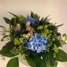 Bukett med blå hortenisa