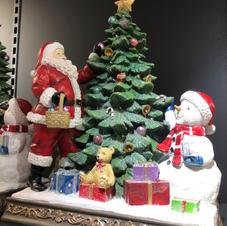 Julenisse juletre snømann stor