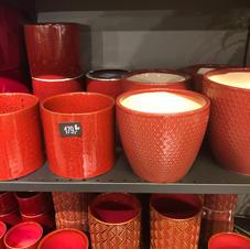 Ulike røde potteskjulere
