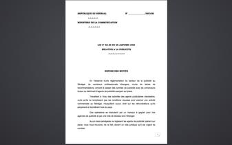 La Loi N°83.20 du 28 janvier 1983 relative à la publicité au Sénégal
