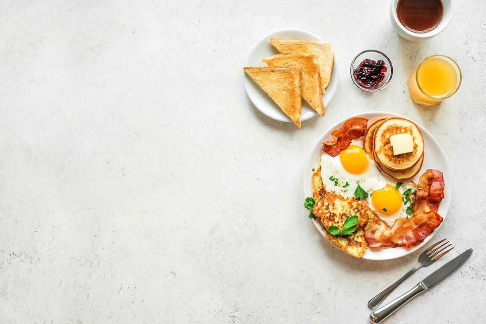 Full American Breakfast on white, top vi