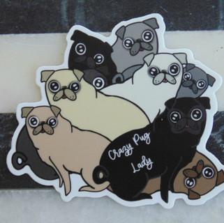Crazy Pug Lady Sticker