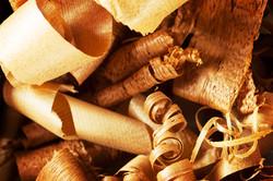 Wood shavings in variety of wood.