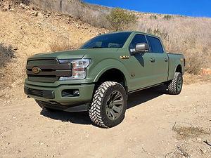 ford truck, vinyl wrap, military green