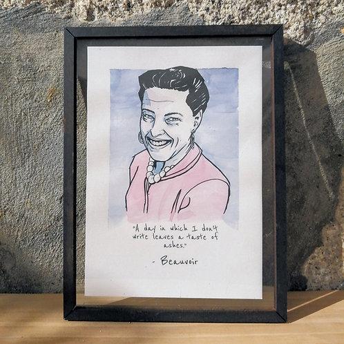 Simone de Beauvoir- watercolor - wood frame
