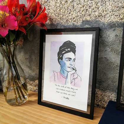 Frida Khalo -  watercolor - wood frame
