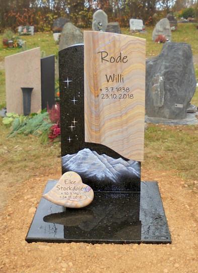 Wiesengrab mit Stein