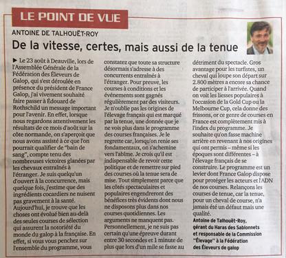 Antoine de Talhouët-Roy: Point de vue