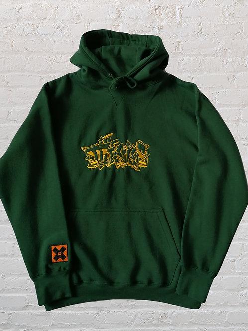 Thieves bottle green Graffiti hoodie