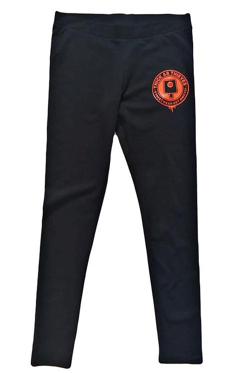 Ladies stretch Jersey leggings - Black / Orange fat cap logo