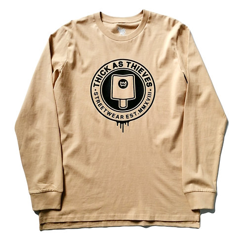 Mens Base layer long sleeve T-shirt / Tan / Black -Fat cap logo